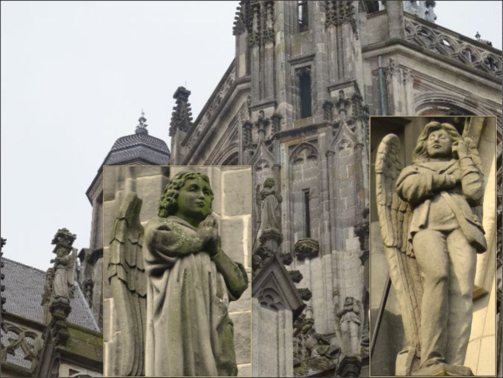 Angels on the rooftops of the Saint-John's Cathedral in Den Bosch